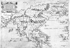 """""""Desegno del Discoperto Della Nova Franza,"""" Venice, 1566; Bolognino Zaltieri."""